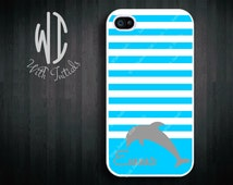 Personalized iPhone 5 Case - Dolphin with Stripes - iPhone 4/4S Case, iPhone 5 Case, Samsung Galaxy S3 Case, iPod Touch 4th Gen