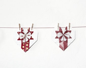 Red Garland - 11 hearts origami on a cord about 2 m