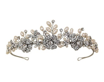 Vintage Style Rhodium Plated Flower & Butterfly Detail Tiara