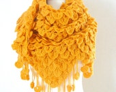 Mustard shawl / Mustard yellow crochet shawl Yellow mohair shawl
