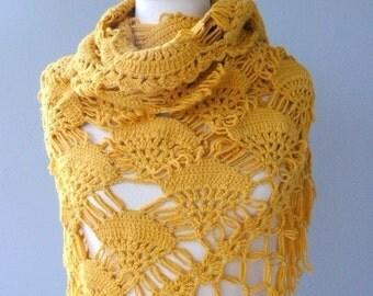 Mustard Yellow Shawl, Yellow Cotton shawl, Cotton  Yellow Crochet shawl Lace Shawl Knitted by Cashmere Cotton
