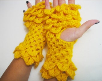 Women Fingerless Gloves, dragon scale gloves Crocheted Arm Warmers Yellow Accessory, winter accessories