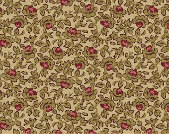 SUPER CLEARANCE!  One Yard Rebecca - Small Floral in Tan - Cotton Quilt Fabric - by Mary Koval  - Windham Fabrics (W310)