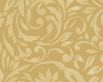 SUPER CLEARANCE!  One Yard My True Love Gave to Me - Damask in Gold Cotton Quilt Fabric - Erin McAllister - Benartex Fabrics (W382)