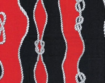 SUPER CLEARANCE! One Yard Cabana II - Sailor's Knot in Navy and Red - Cotton Quilt Fabric - by Kanvas - Benartex (W838)