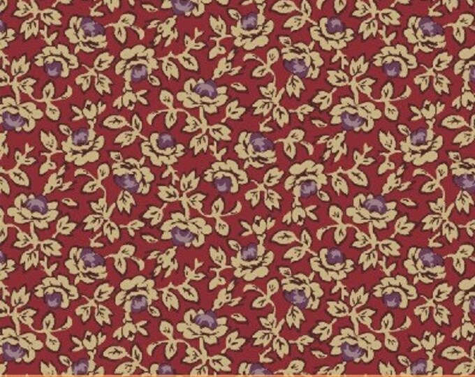 SUPER CLEARANCE! One Yard Rebecca - Small Floral in Red - Cotton Quilt Fabric - by Mary Koval  - Windham Fabrics (W311)