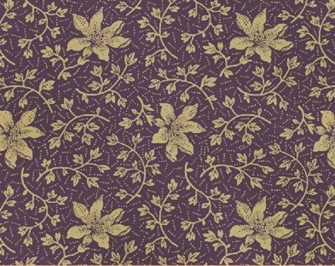 SUPER CLEARANCE!  One Yard Rebecca - Mono Floral in Purple - Cotton Quilt Fabric - by Mary Koval  - Windham Fabrics (W315)