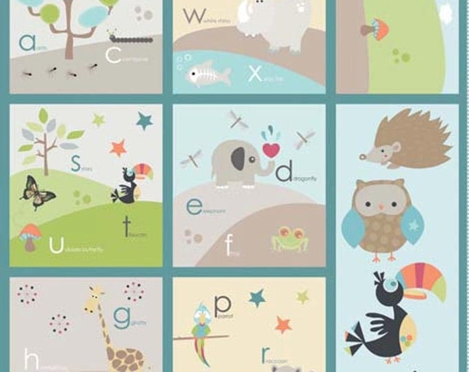 SUPER CLEARANCE!  Life in the Jungle Panel in Blue - Cotton Quilt Fabric - Doohikey Designs for Riley Blake - One Panel (W773)