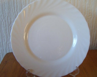 Two Creamy White Arcopal Dinner Plates Made in France