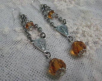 Assemblage Earrings, Vintage Rosary Centerpiece, Amber Crystal Earrings, Upcycled Jewelry, Religious Jewelry, Rosary Assemblage Earrings