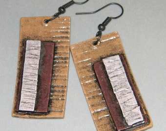 Earrings Distressed Boho Polymer Clay Mid Century Modern Jewelry Women Casual Dangles APERTURE by ArtCirque Donna Pellegata