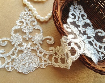 Retro luxury Embroidery Lace Ivory Alencon Lace Trim with Silver Thread for Bridal Wedding Gown Supplies