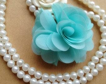 Light Blue Chiffon Flower, Wedding Flower Girl, Bridal Hair Flower, 2pcs