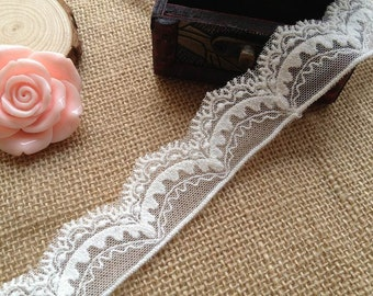 White Thread Lace Embroidered Lace Trim for bridal, baby headband, lingerie, 1 Yard