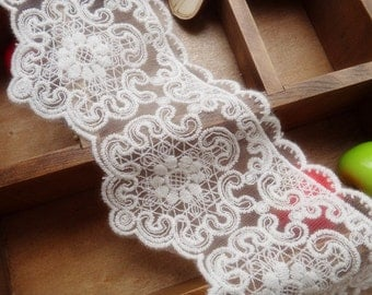 Off White Scalloped Embroidery Lace Trim Bridal Wedding Lace Craft Supplies 1 Yard