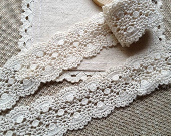 2 Yards Beige Lace Trim Vintage Ecru Cotton Lace Trim with Scalloped For DIY Accessory Costume Supplies