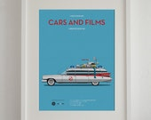 Ghost Busters car movie poster, art print A3 Cars And Films, home decor prints, illustration print