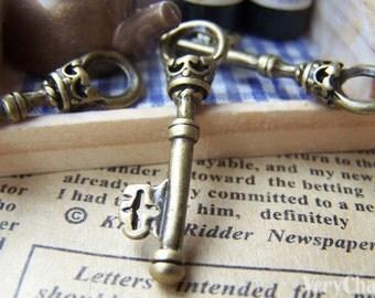 20 pcs of Antique Bronze Skeleton Key Charms Pendants 9x35mm A182