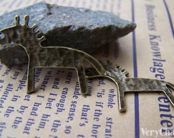 20 pcs of Antique Bronze Cartoon Textured Horse Charms 18x25mm A675