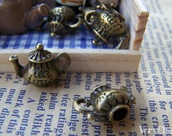 Teapot 3D Tea Pot Charms Antique Bronze Pendants 12x15mm Set of 10 pcs A3405