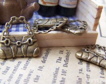 20 pcs Antique Bronze Flat Handbag Charms 16.5x16.5mm A1405