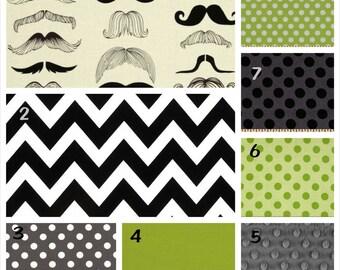 Custom Moustache Crib Bedding - Sheet, Blanket and Crib Skirt