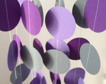 Light Purple, purple, gray 12 ft Circle Paper Garland- Party Decorations, Birthday, Wedding, Bridal Shower, Baby Shower