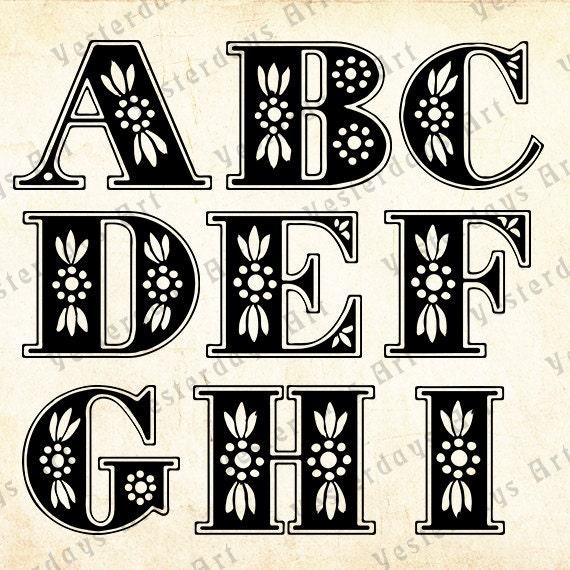 Vintage letras antiguas imágenes digitales 2. por YesterdaysClipArt