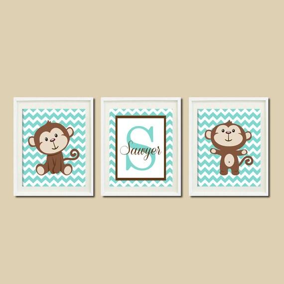 Nursery Wall Decor Name : Boy monkey nursery wall art personalized name by