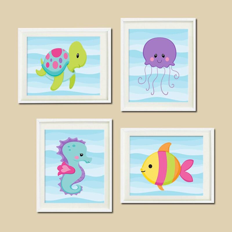 Ocean Wall Decor For Nursery : Sea animals wall art girl nursery decor by