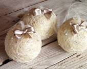 3 Modern Contemporary HANGING DECORATIVE SNOWBALLS Ivory Balls baubles on ribbons with cappucino colour bows home decor - set of 3