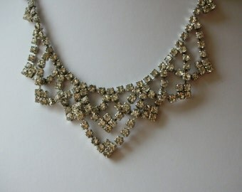 Vintage Necklace - Bridal Necklace - Rhinestone Vintage Necklace