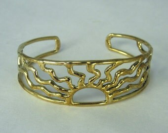 Solid Bronze Sun Bracelet  -  One inch wide