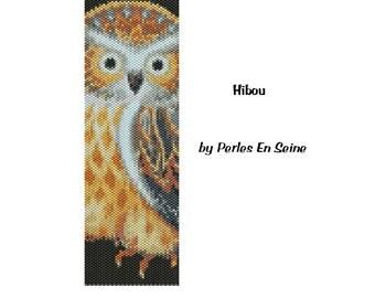 Owl Peyote Pattern, Even Count Peyote Stitch Pattern, Beadwoven Cuff Bracelet Pattern, Owl DIY Seed Bead Bracelet Pattern