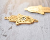 Hand of Fatima with Evileye Charm,Gold Plated Filigree Pendant,Matte Gold Hamsa, Jewelry Findings