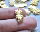 10 Pieces Mini Gold Plated Metal Charm, Owl Pendant, Jewelry Findings
