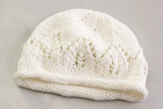 Knitting Pattern For Lace Baby Hat : KNITTING PATTERN Newborn Baby Hat Baby Hat with Lace Panel