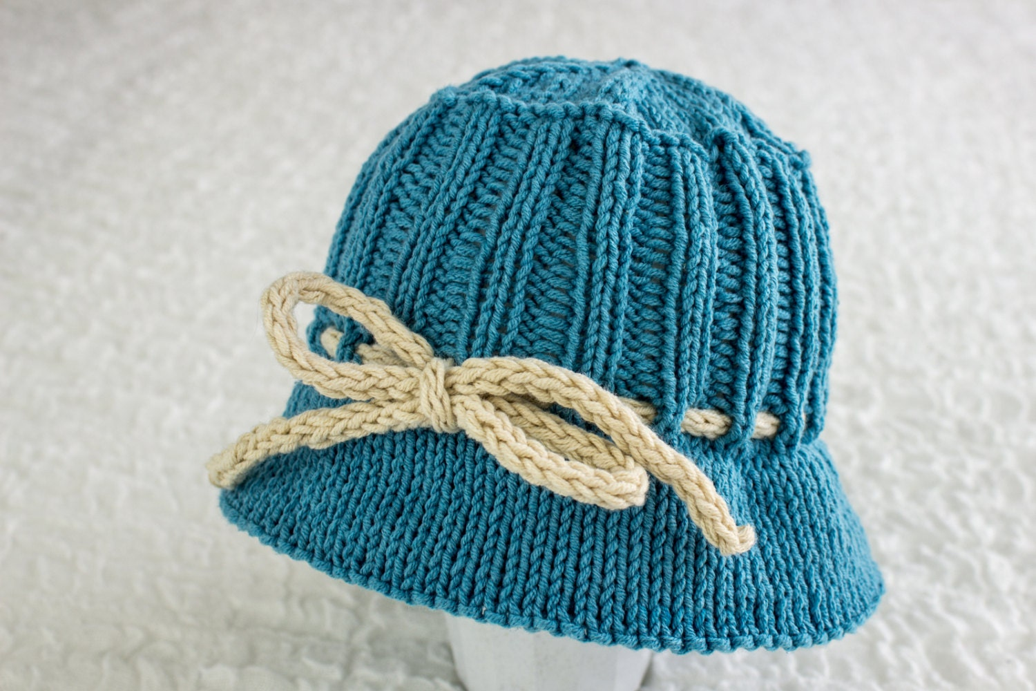 Knit Hat Pattern Free Brim : KNITTING PATTERN Baby Summer Hat Brimmed Hat Knitting