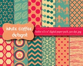 Coral Collage Sheets, Teal, Pink paper, Scrapbook digital paper, Woodland paper, Chevron, Quatrefoil, cij, summer pattern paper, Paper goods
