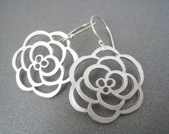 Silver Flower Dangle Earrings, Sterling Silver Wires