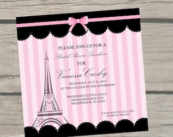 paris themed bridal shower invitations by thelittlestickynote, Bridal shower invitations