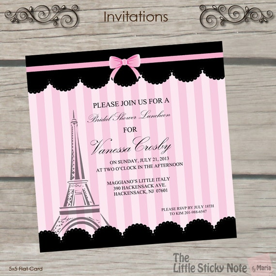 Paris themed bridal shower invitations for Themed bridal shower invitations