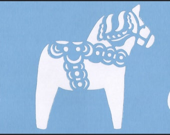 Scandinavian Swedish Dala Horse Border Stencil