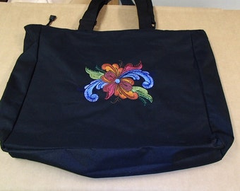 Embroidered Black Pocket Tote Bag ~ Scandinavian Norwegian Folk Art Rosemaling #854