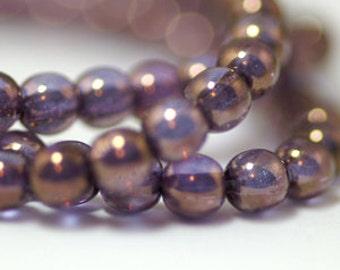Plum Bronze Illusion 6mm Round Czech Glass Beads x 50