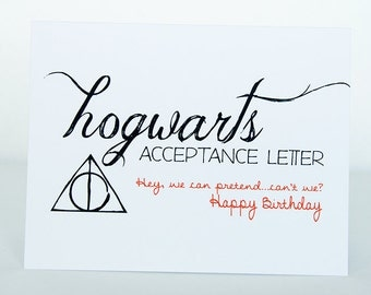 hogwarts acceptance letter happy birthday card // harry potter // dumbledore // movie greeting cards // acceptance letter card // custom