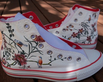 Victorian Flower Pattern Custom Painted Shoes