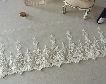 1 yard Embroidery Tulle Lace Trim 15cm wide 609