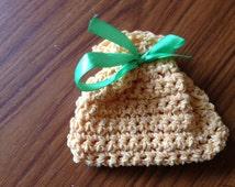 Two Yellow Bags, Mini Crochet Bag, Crochet Gift Bag, Small Yellow Bag, Small Wool Bag, Make Up Bag, Yellow Make Up Bag, Crochet Lavender Bag