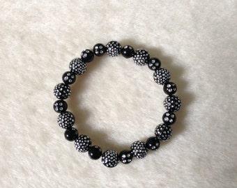 Black Sparkly Bracelet, Glittery Bracelet, Black Bead Bracelet, Stretchy Bracelet, Sparkly Anklet, Black Jewellery, Sparkly Jewellery